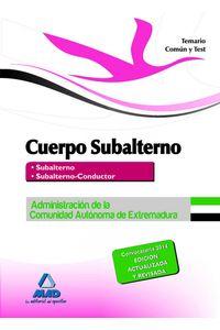 Cuerpo Subalterno Extremadura Temario Comun Y Test 2014
